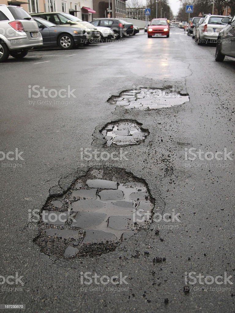 road damage / potholes stock photo