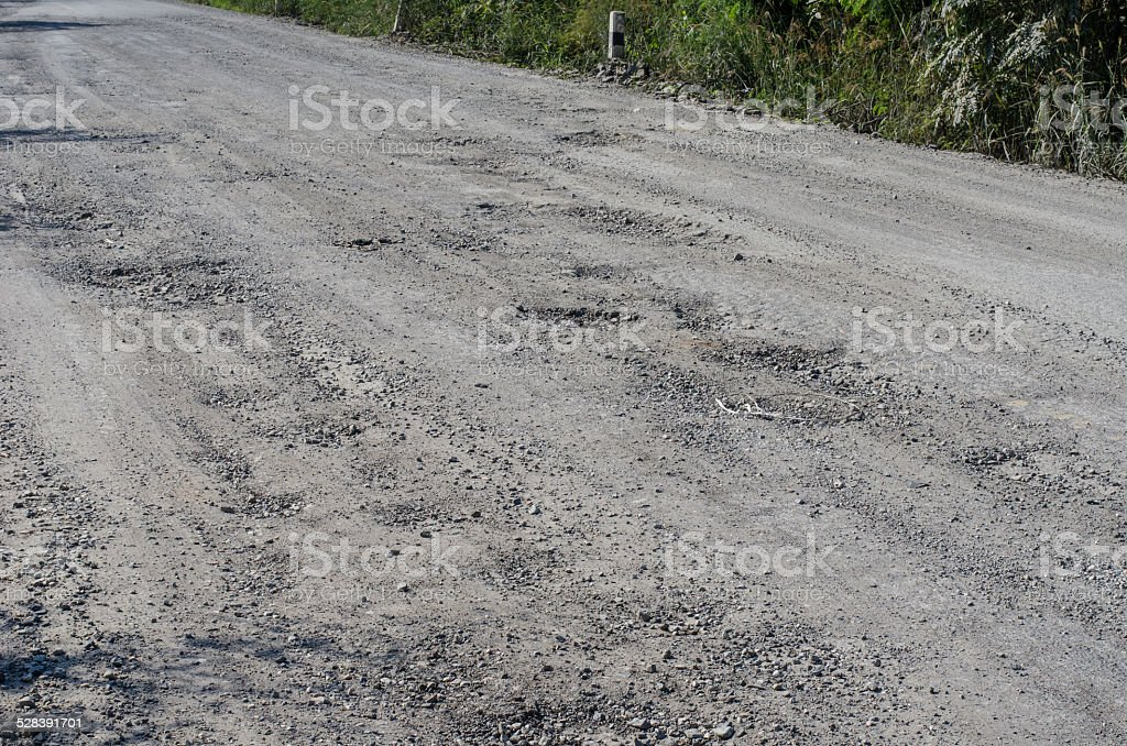 Road damage, with holes stock photo
