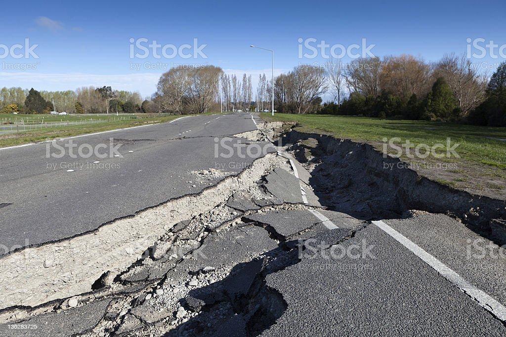Road damaged by earthquake stock photo