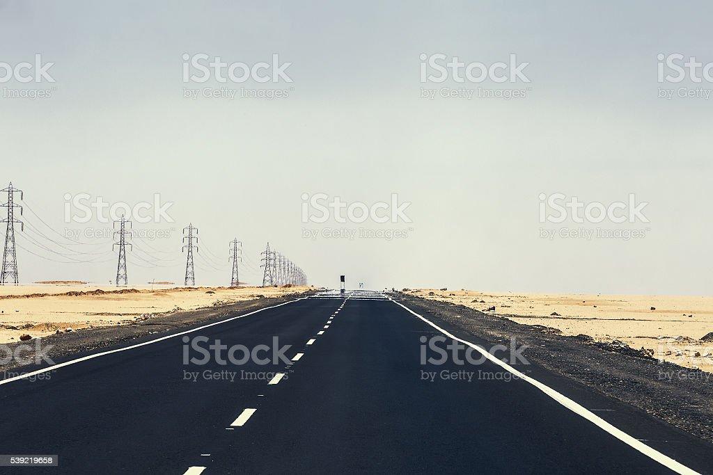 road desert mirage stock photo