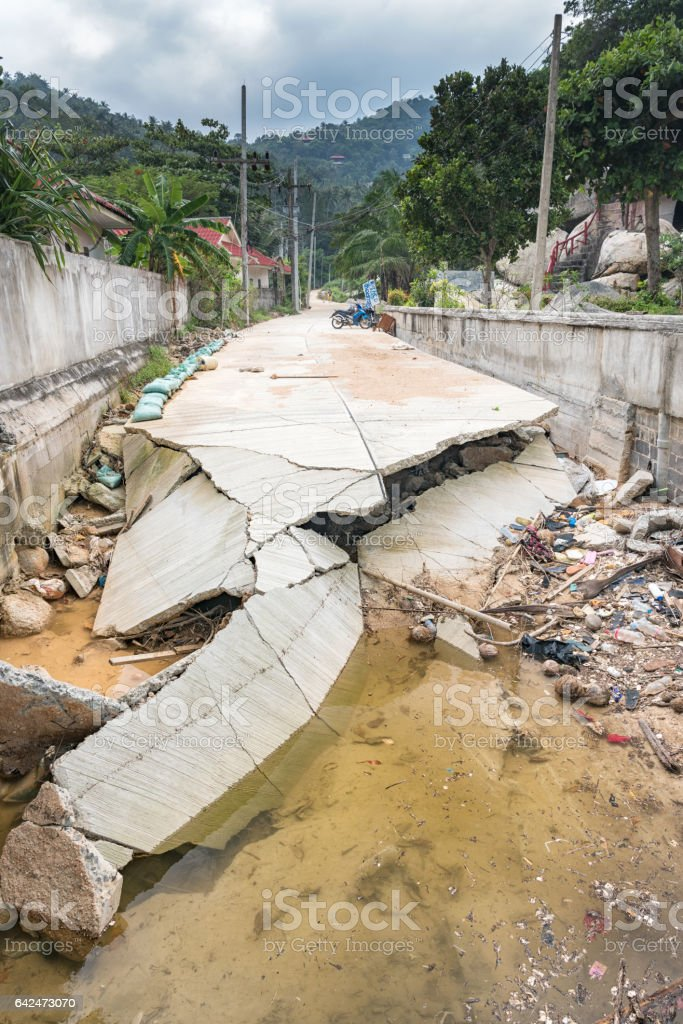 Road destroyed by Floods, Thailand stock photo