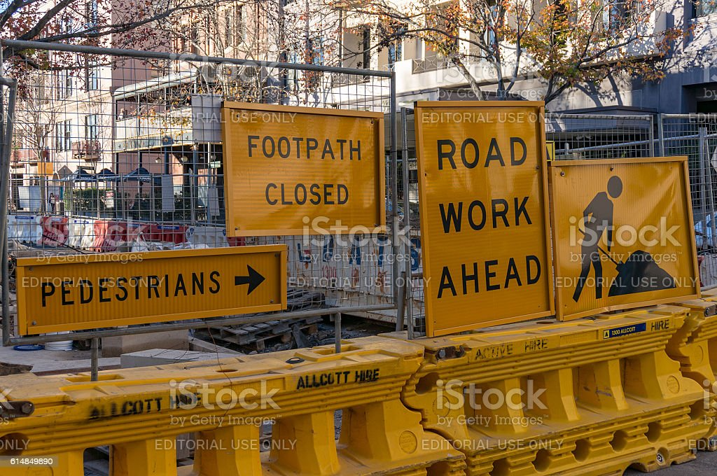 Road detour pedestrian sign stock photo