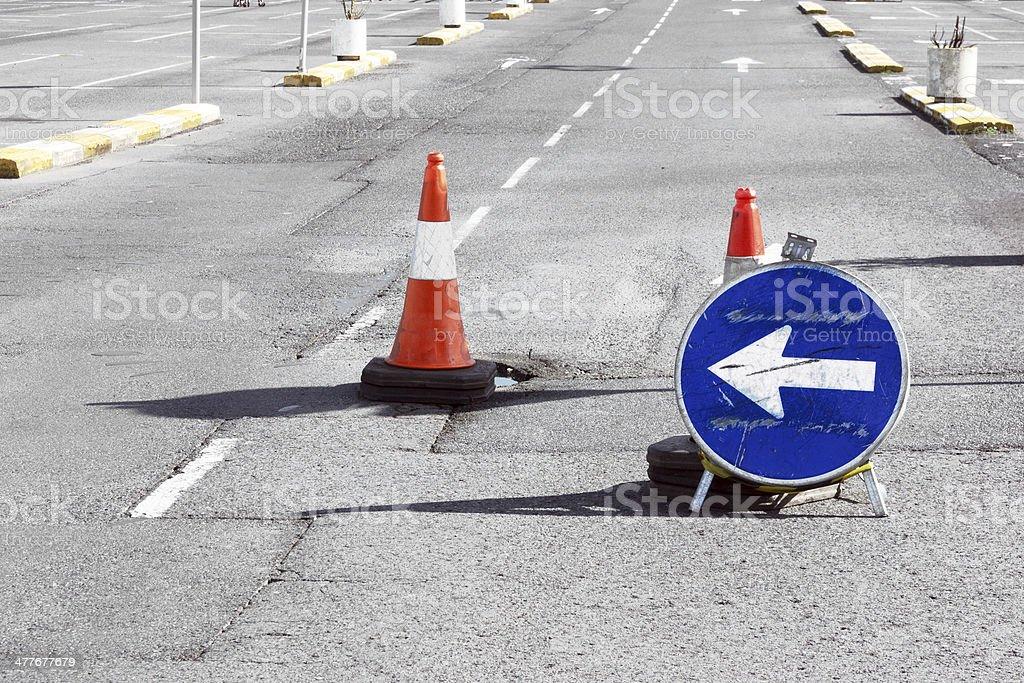 Road detour sign and cones due pothole stock photo