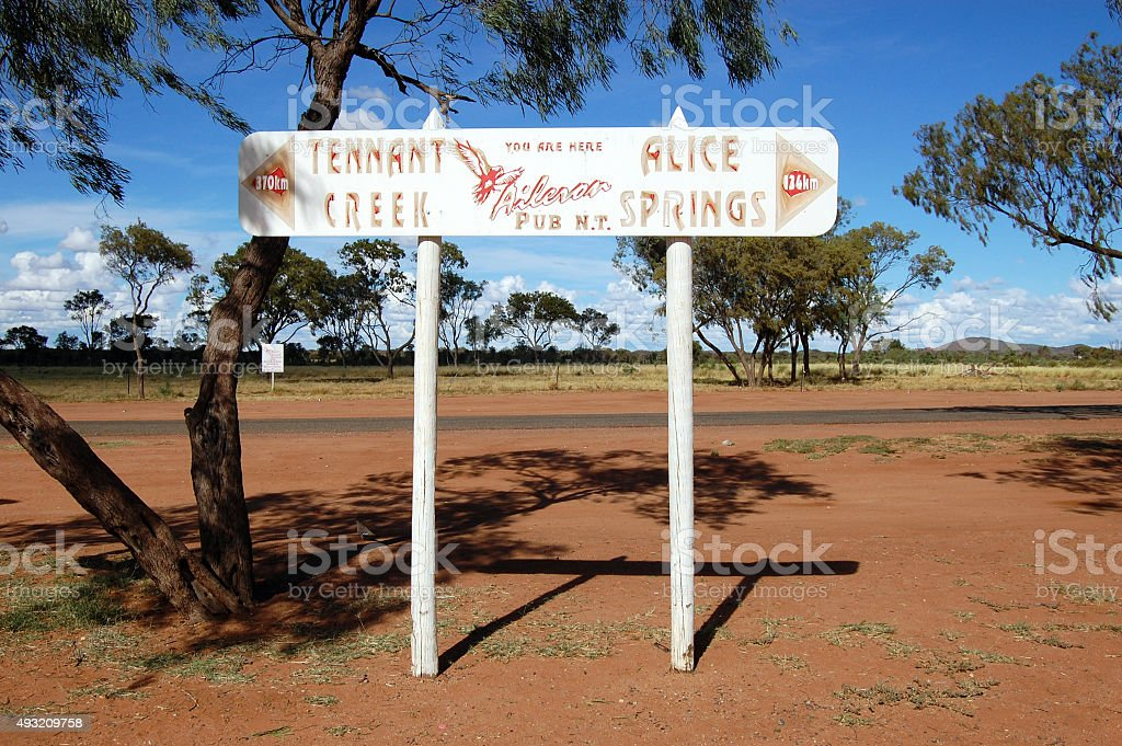 Road direction metal sign outback Australia stock photo