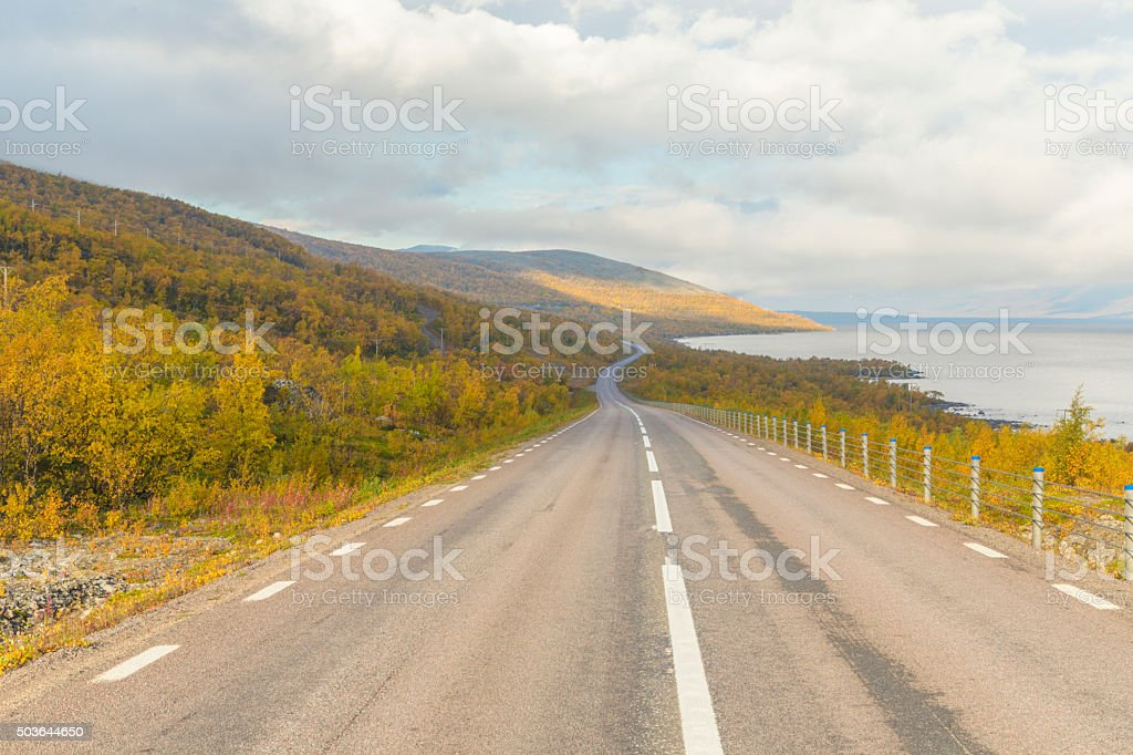 Road E10 going to Riksgränsen in autumn stock photo