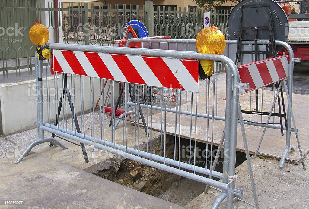 road excavation for the laying of fibre optics royalty-free stock photo