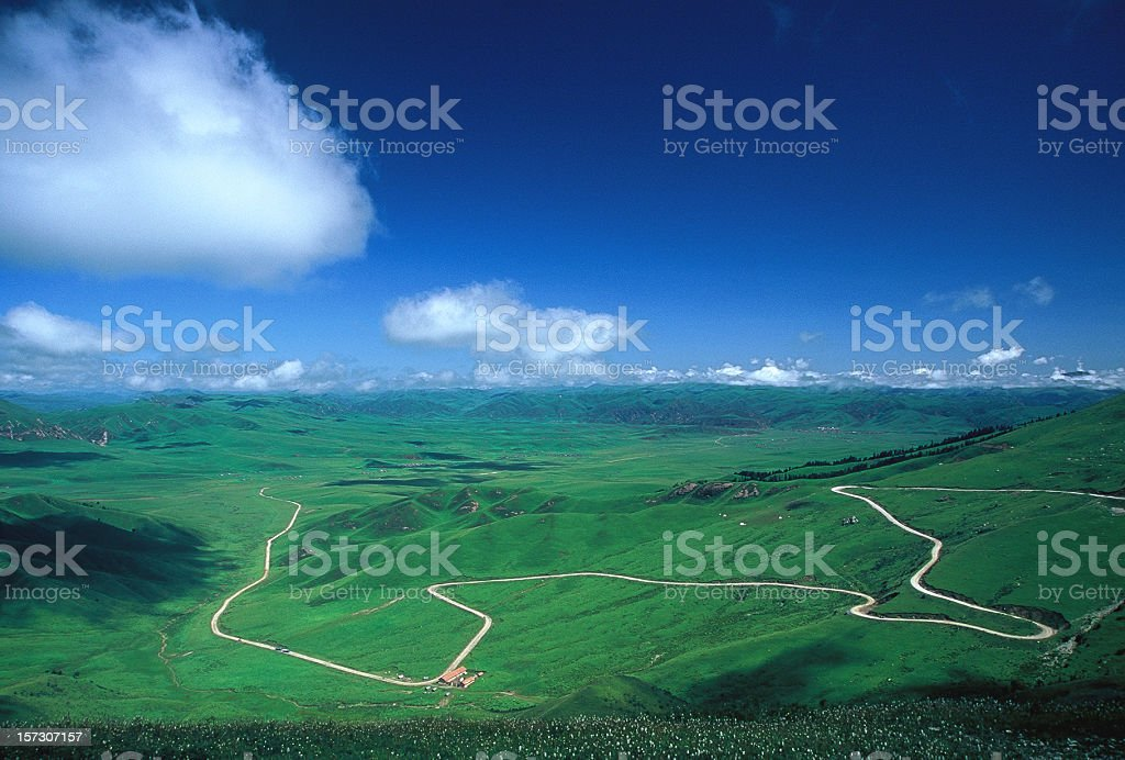 Road extending into distant horizon on green grassland stock photo