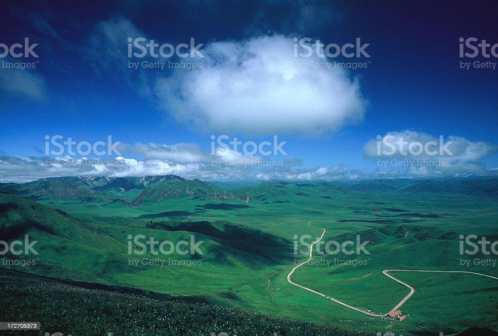 Road extending into distant horizon on vast grassland royalty-free stock photo