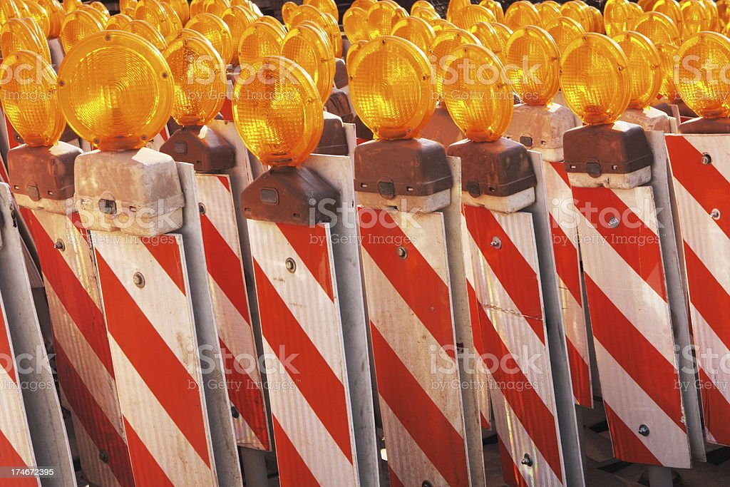Road Flasher Construction Reflector Signs stock photo