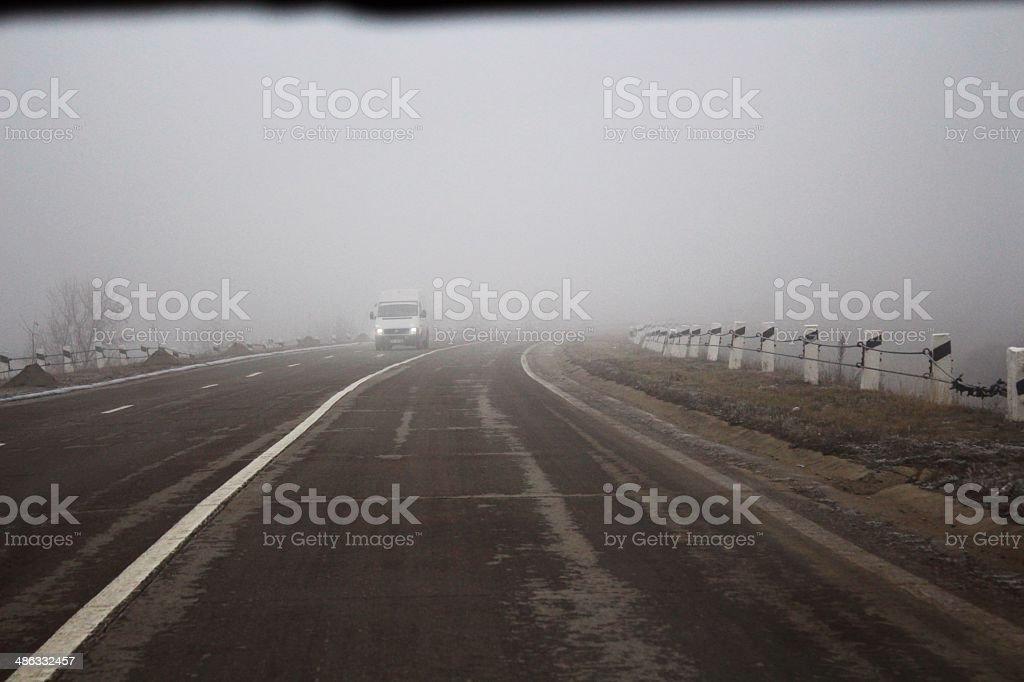 Road fog royalty-free stock photo