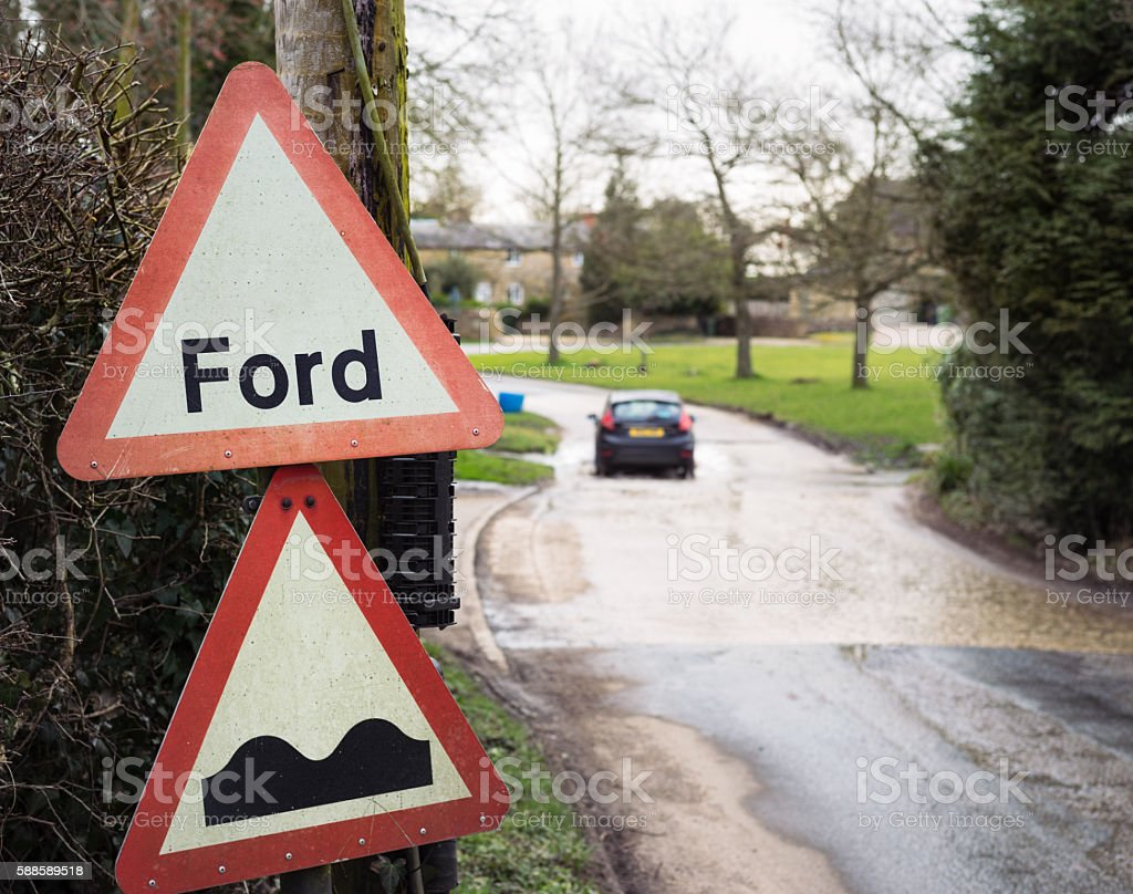 Road ford in an English village stock photo