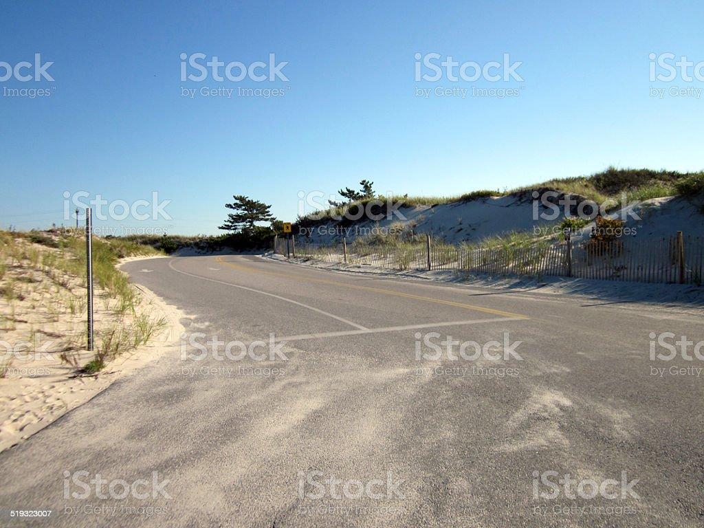 Road from Chapin Beach, Cape Cod, Massachusetts stock photo