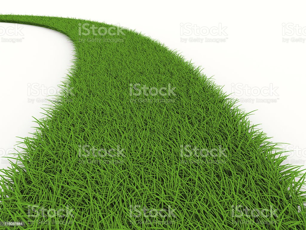 road from grass on white. Isolated 3D image royalty-free stock photo