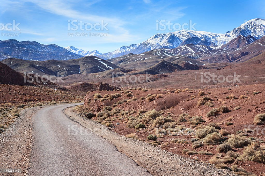 Road from the pass Tizi-n-Tichka to Telouet, High Atlas, Morocco royalty-free stock photo