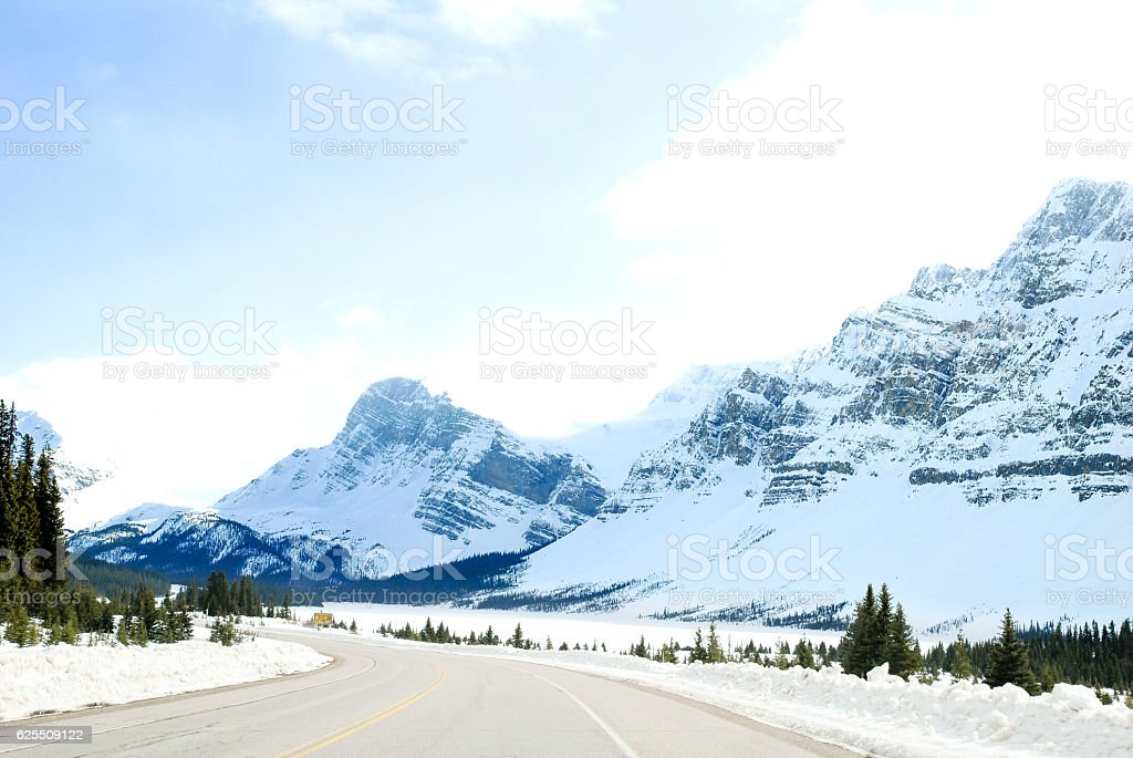 €€Road Going Down to Bow Lake, Canadian Rockies, Alberta, Canada stock photo