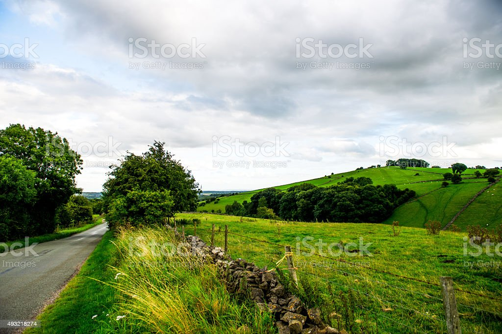 Road, Green Meadows and Trees in Peak District National Park stock photo