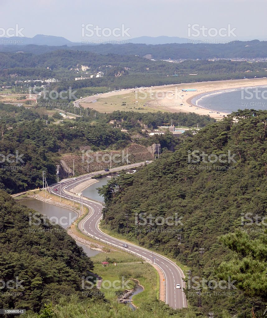 A road in a holiday route with a freeway royalty-free stock photo