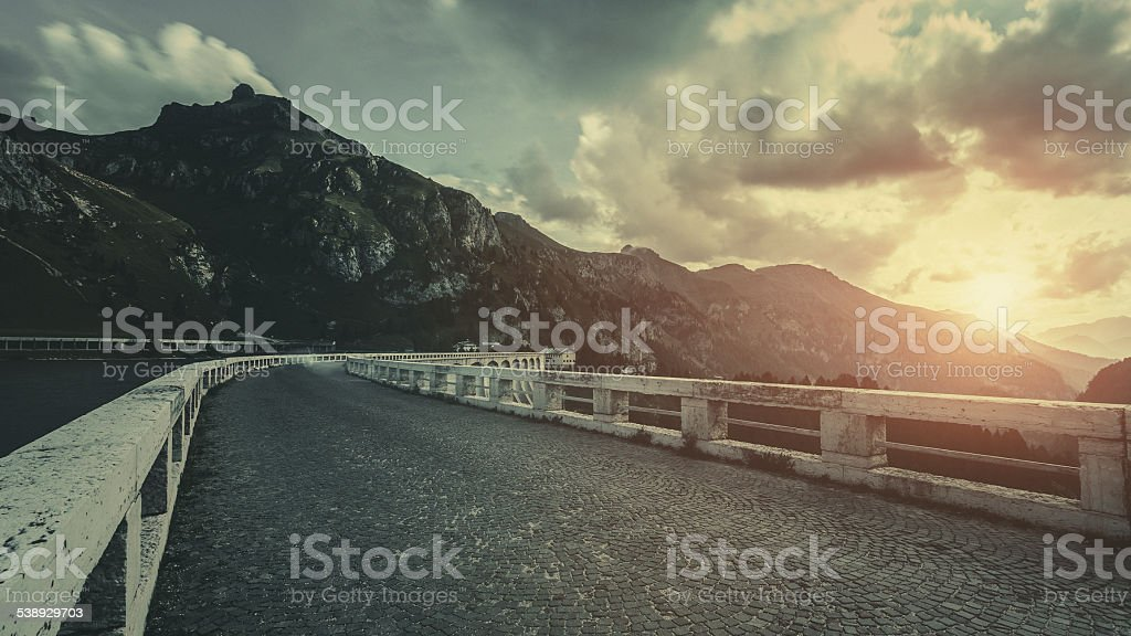 Road in a mountains stock photo