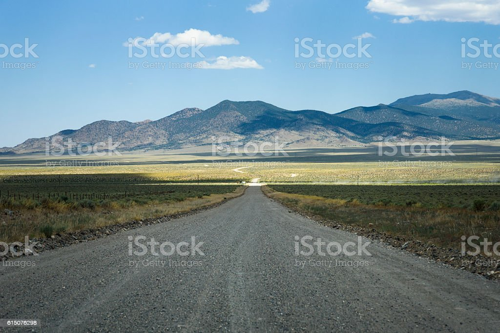 Road in a remote valley stock photo