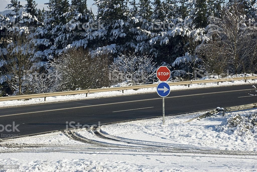 Road in a snowy area royalty-free stock photo