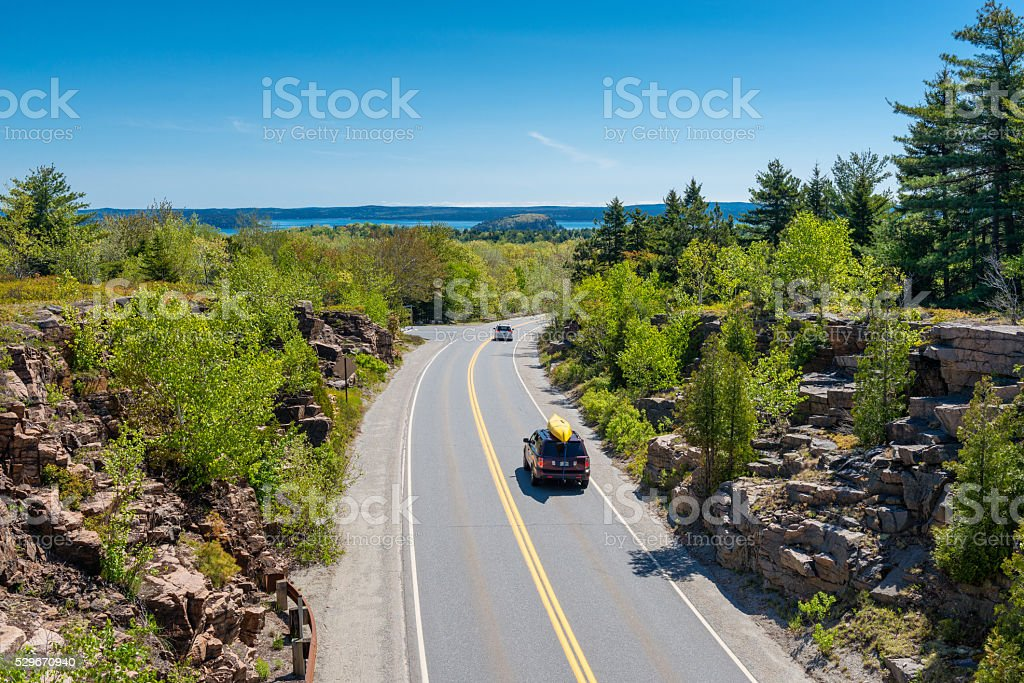 Road in Acadia National Park Maine stock photo