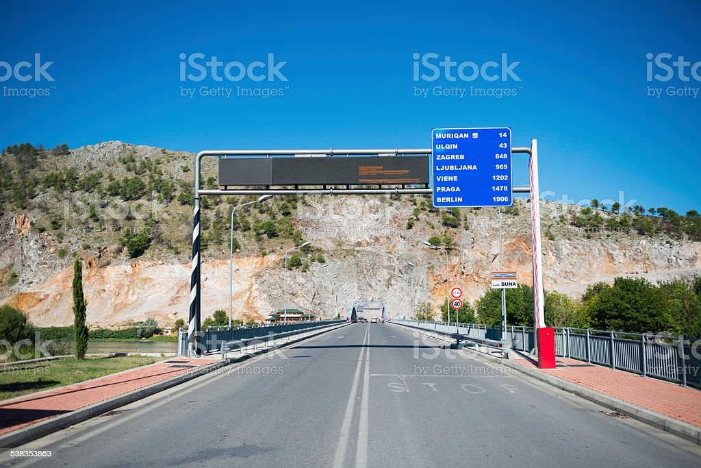 Road in Albania leading to the rest of Europe stock photo