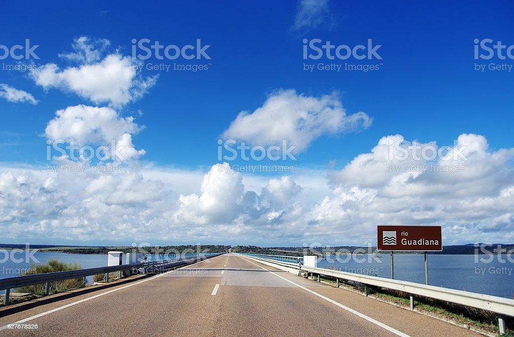 road in alqueva lake, alentejo, Portugal stock photo
