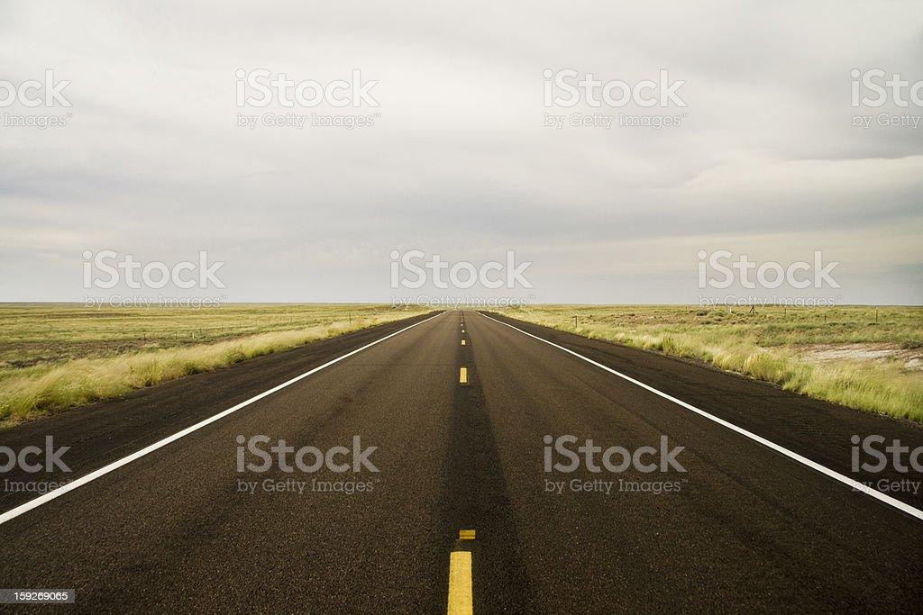 Road in Arizona Desert Fields stock photo