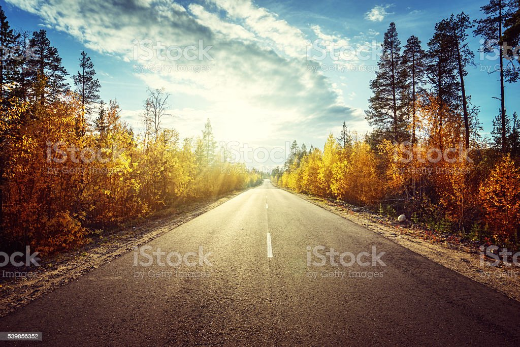 road in autumn  mountains stock photo