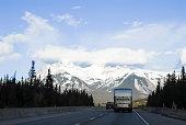 Road in Canadian Rockies in Winter, Alberta, Canada