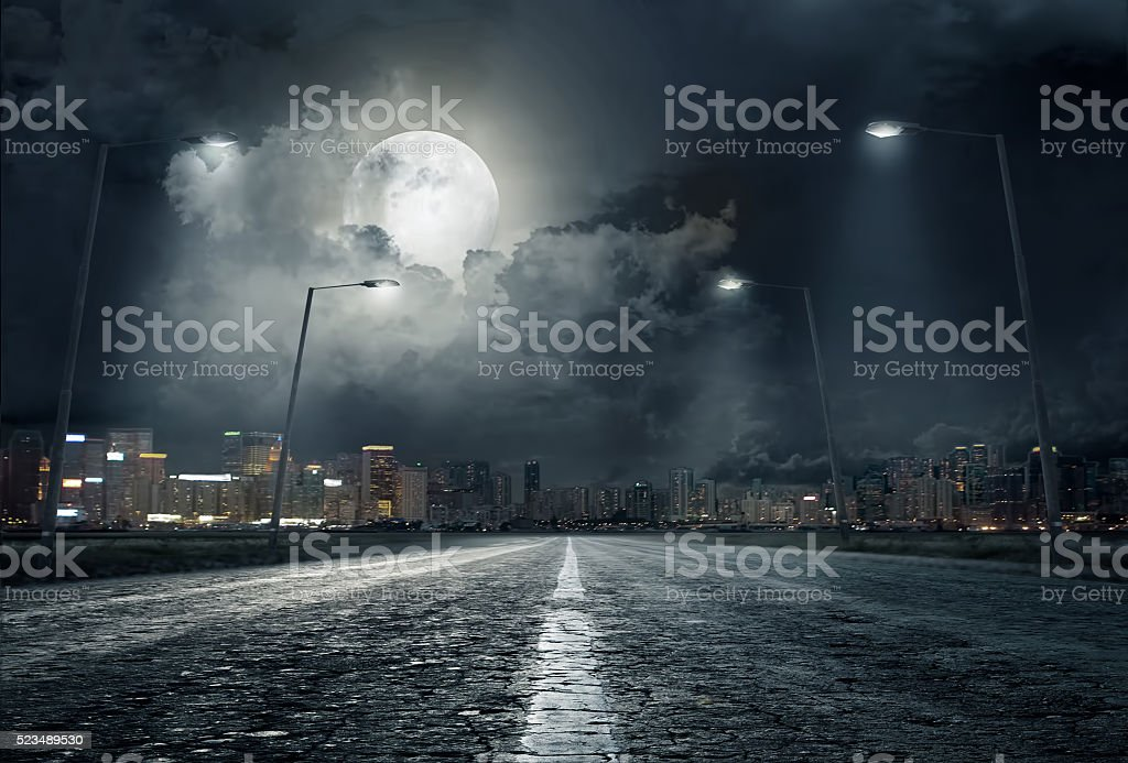 road in city at night .. stock photo