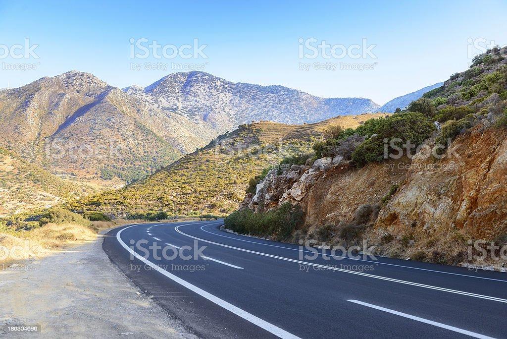 Road in Cretan mountains. Greece royalty-free stock photo