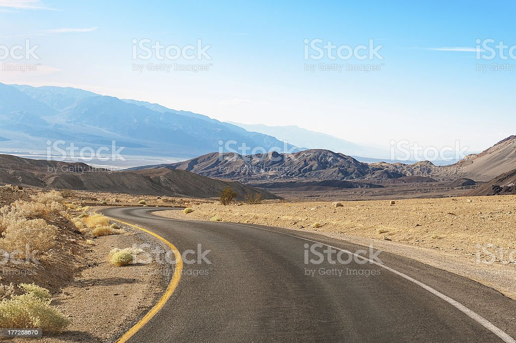 Road in Death Valley under the sun royalty-free stock photo