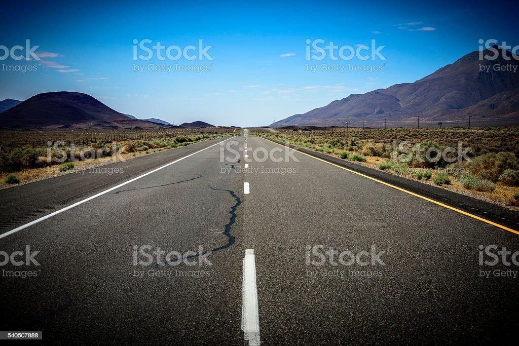 Road in Eastern Sierra stock photo