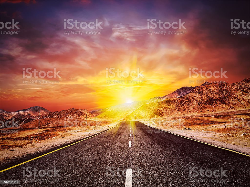 Road  in Himalayas with mountains stock photo