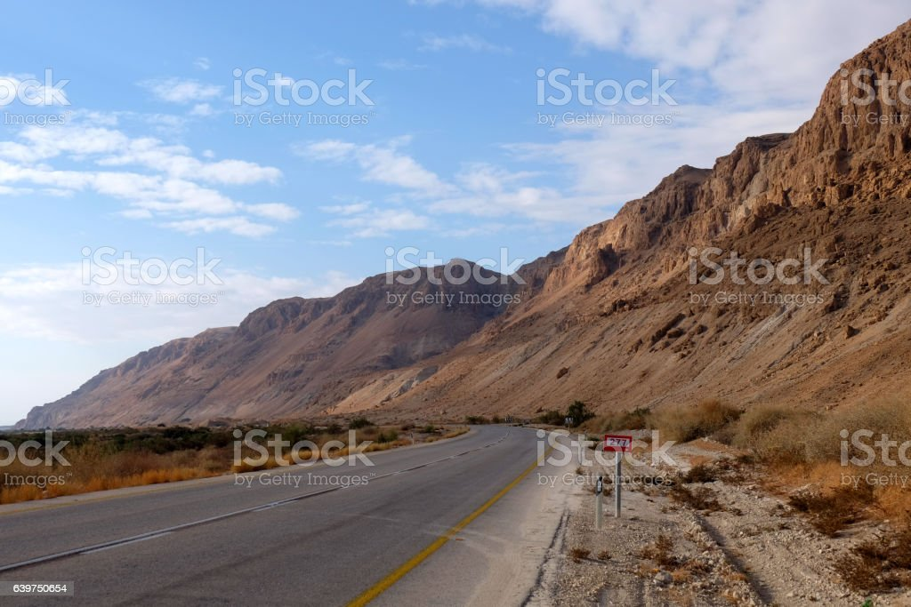 Road in Judea Desert. stock photo