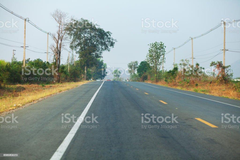 Road in Kanchanaburi stock photo