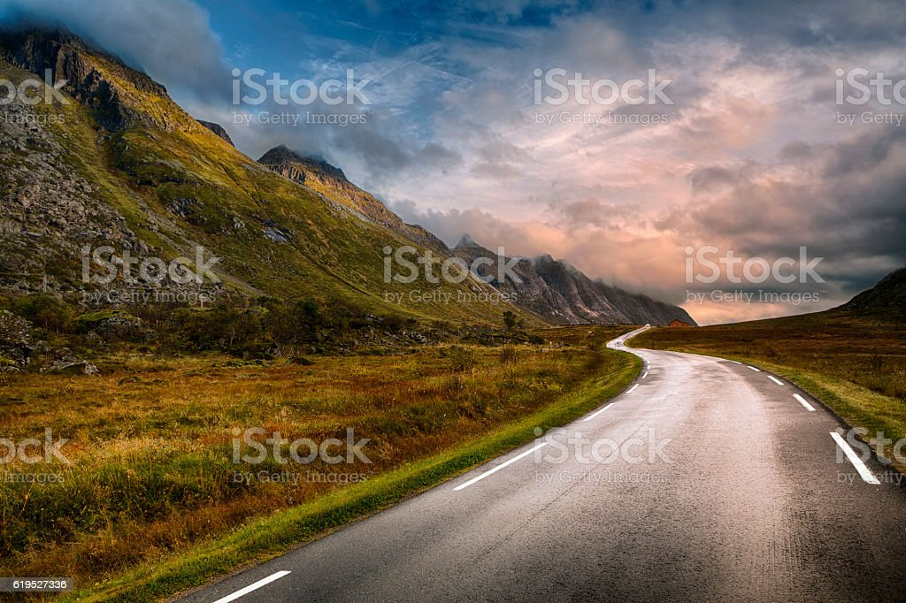 Road in Lofoten, Norway stock photo