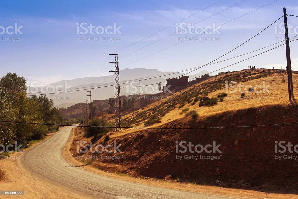 Road in Morocco. Not far from Ourika, Valley royalty-free stock photo