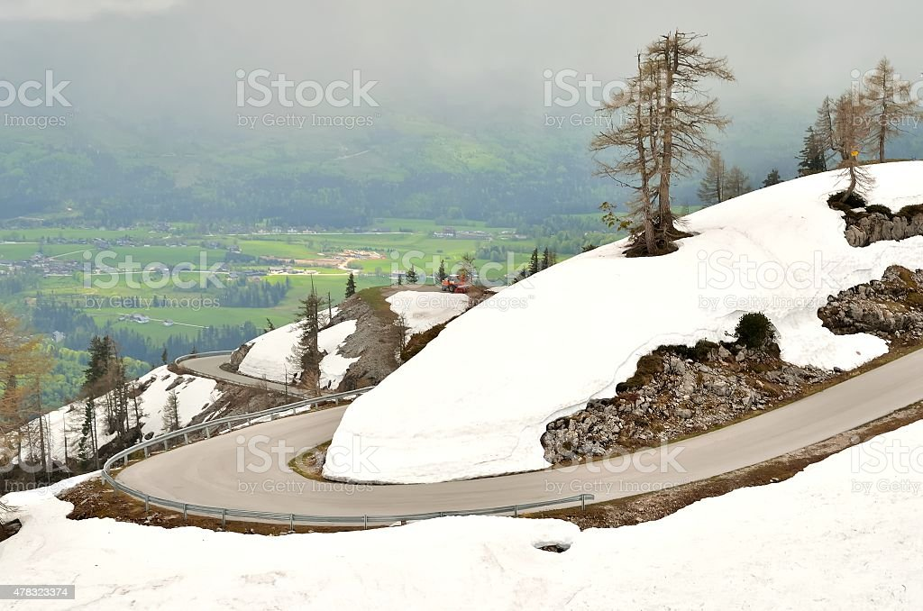 Road in mountains in Austria. stock photo