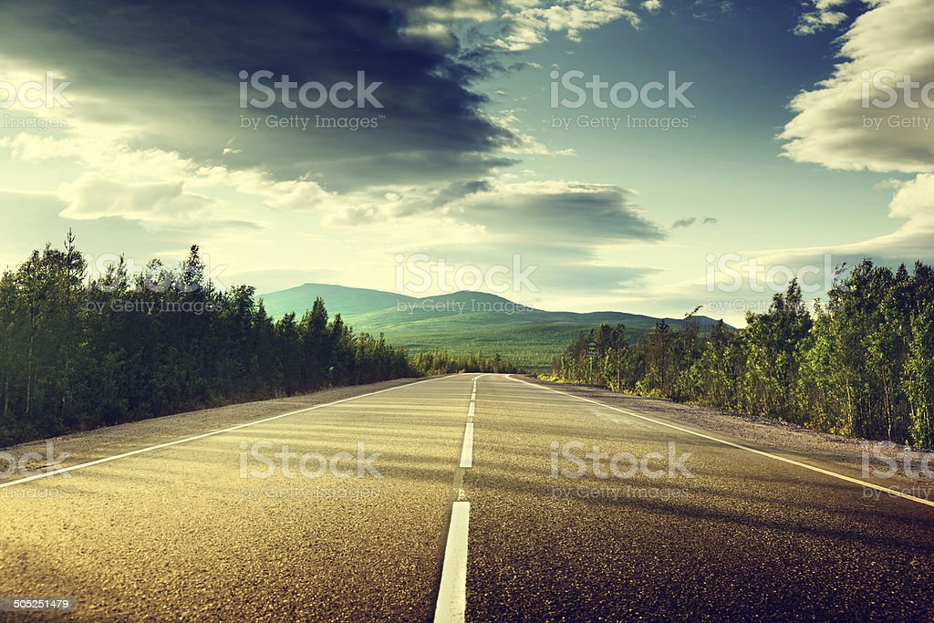 road in mountains stock photo