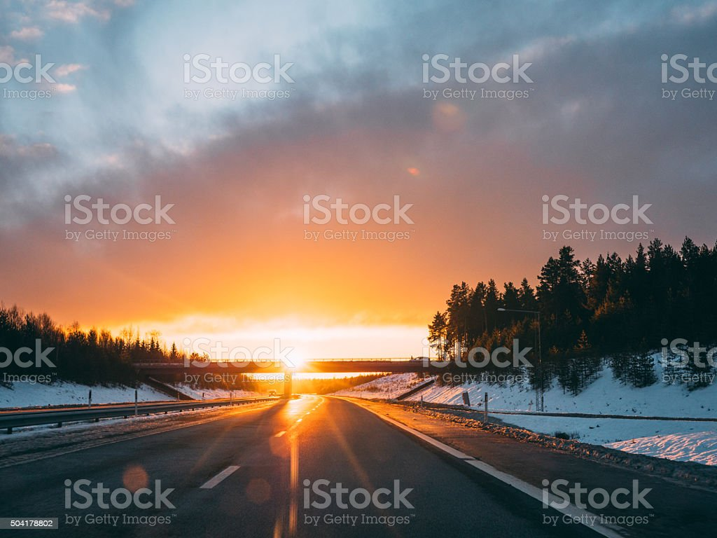 Road in Norrland Sweden during winter stock photo