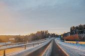 Road in Norrland Sweden during winter