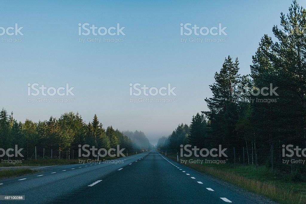 Road in Norrland Sweden stock photo
