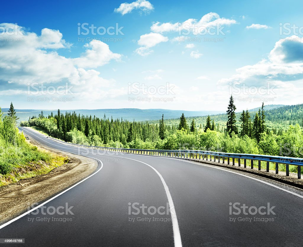road in north mountains stock photo