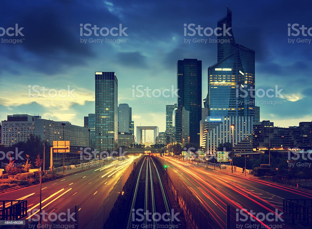 road in Paris LaDefense, France stock photo