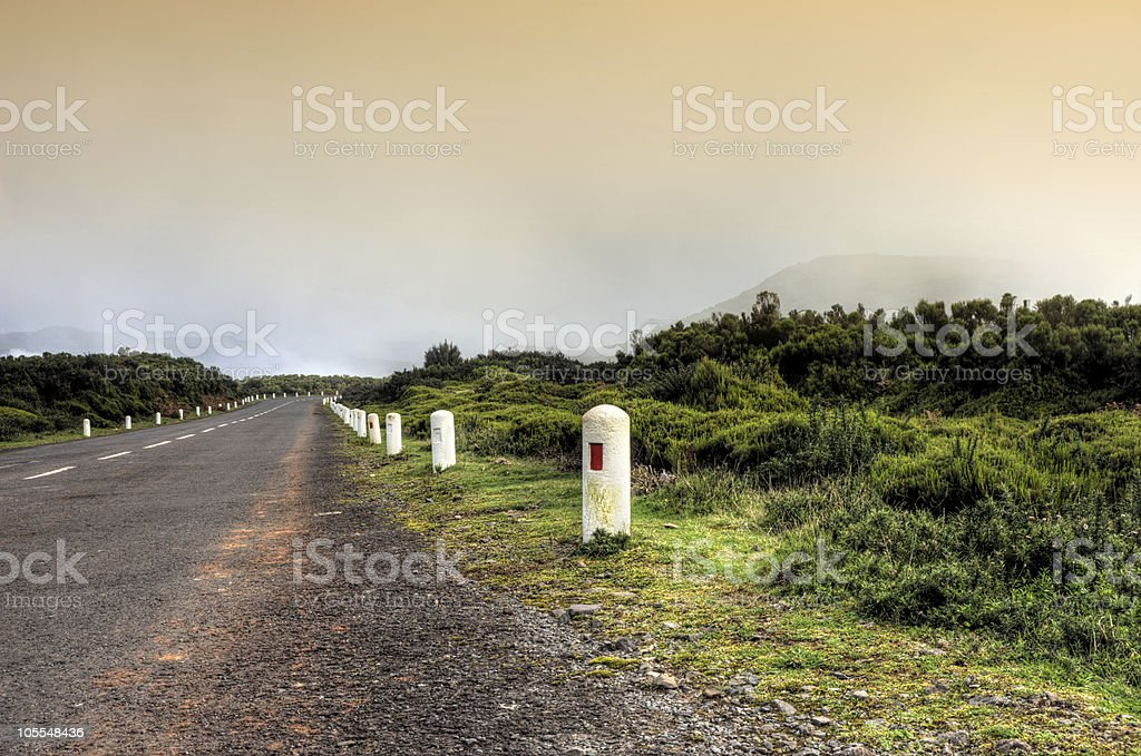 Road in Plateau of Parque natural de Madeira,  Portugal royalty-free stock photo