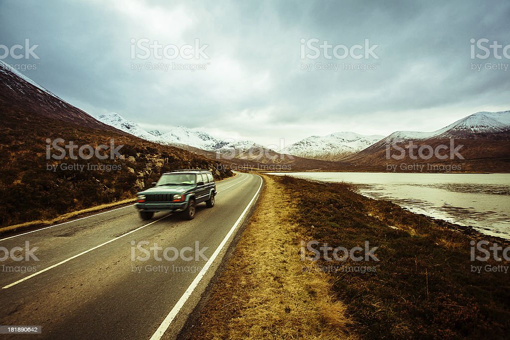 Road in Scotland and Jeep, Isle of Skye royalty-free stock photo