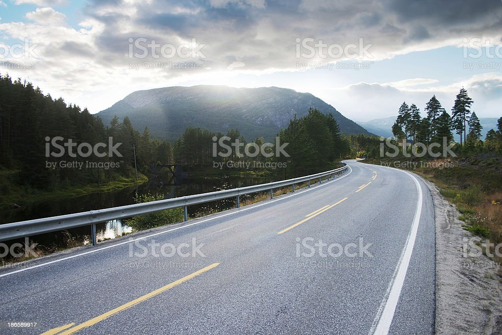 Road in Setesdal, southern Norway stock photo