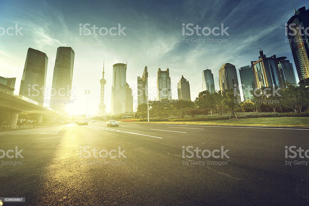 road in shanghai lujiazui financial center stock photo